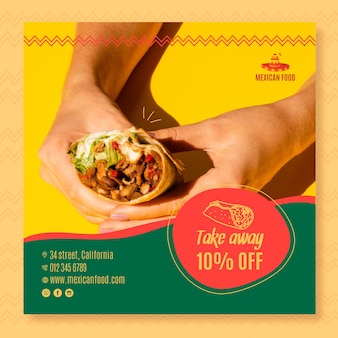 Volantino quadrato per ristorante di cucina messicana