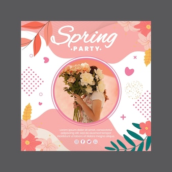 Square flyer for spring party with woman and flowers