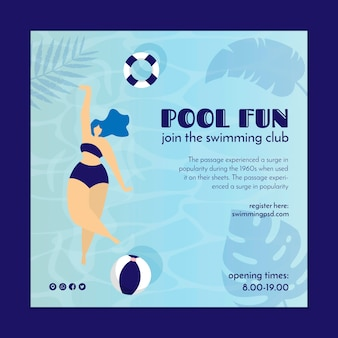 Square flyer for swimming pool club