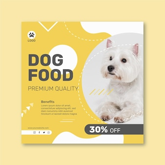 Square flyer template for animal food with dog