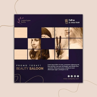 Square flyer template for beauty salon