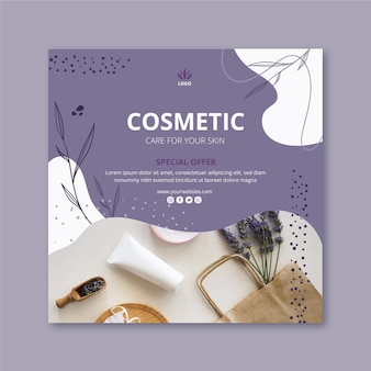 Square flyer template for cosmetic products with lavender