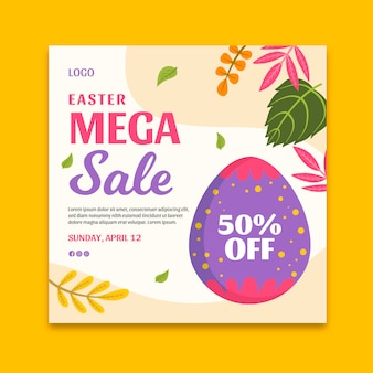 Square flyer template for easter sale with egg