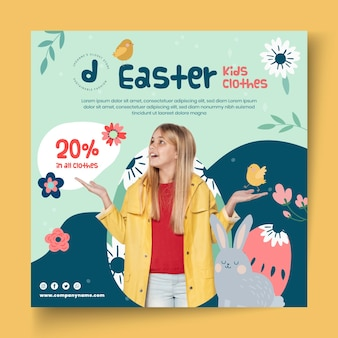 Square flyer template for easter sale with girl