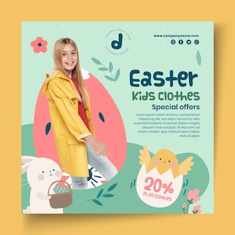 Square flyer template for easter sale with little girl