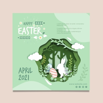 Square flyer template for easter with bunny and eggs