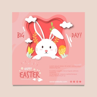 Square flyer template for easter with bunny