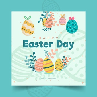 Square flyer template for easter with eggs