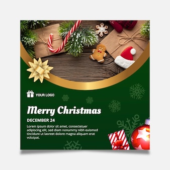 Шаблон квадратного флаера на рождество