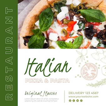 이탈리아 요리 레스토랑에 대한 정사각형 전단지 템플릿