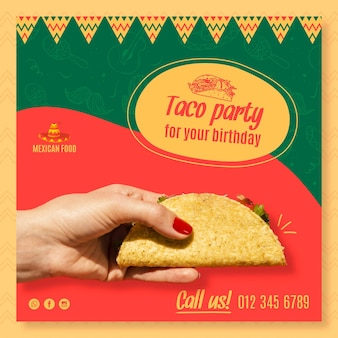 멕시코 음식 레스토랑에 대한 정사각형 전단지 템플릿 무료 벡터