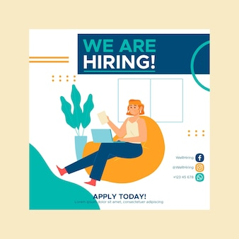 Square flyer template for hiring positions