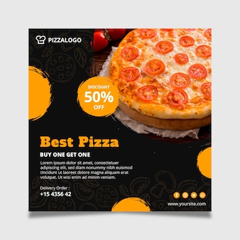 Square flyer template for italian food restaurant