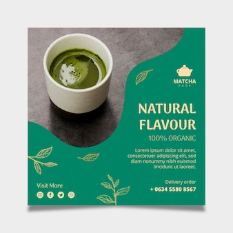Square flyer template for matcha tea