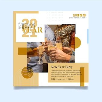 Square flyer template for new year party with friends