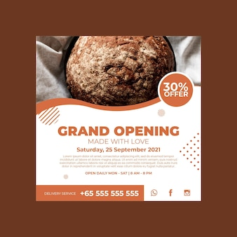 Square flyer template for pastry shop