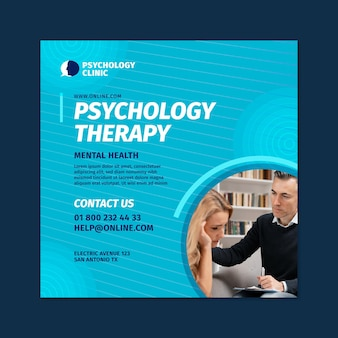Modello di volantino quadrato per terapia psicologica Vettore gratuito