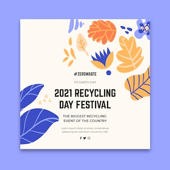 Square flyer template for recycling day festival