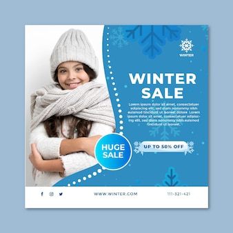 Square flyer template for winter sale