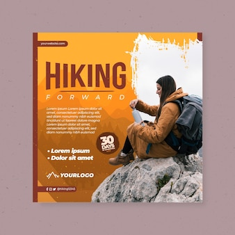 Square flyer template with female backpacker