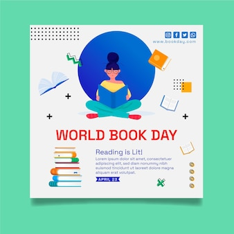Square flyer template for world book day celebration