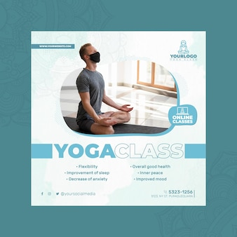 Square flyer template for yoga practice with man wearing medical mask