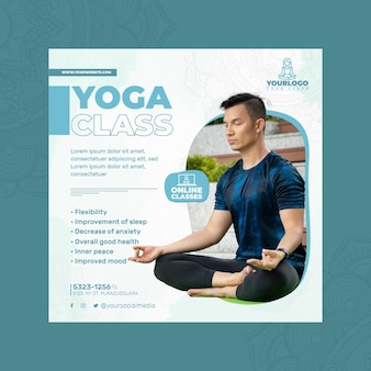 Square flyer template for yoga practice with man