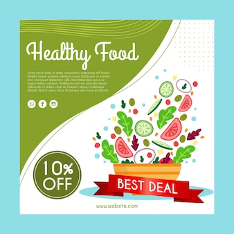 Square flyer with healthy food for restaurant