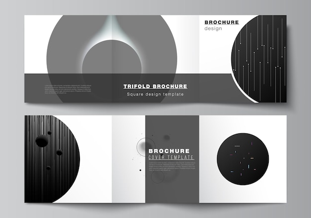 Square format covers design templates for trifold brochure flyer magazine cover