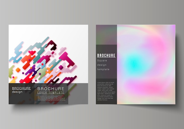 Square format covers templates. abstract colorful geometric