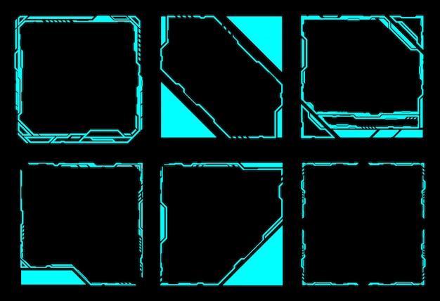 Квадратная рамка абстрактной технологии будущего интерфейса hud.