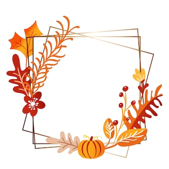 Square frame autumn bouquet wreath