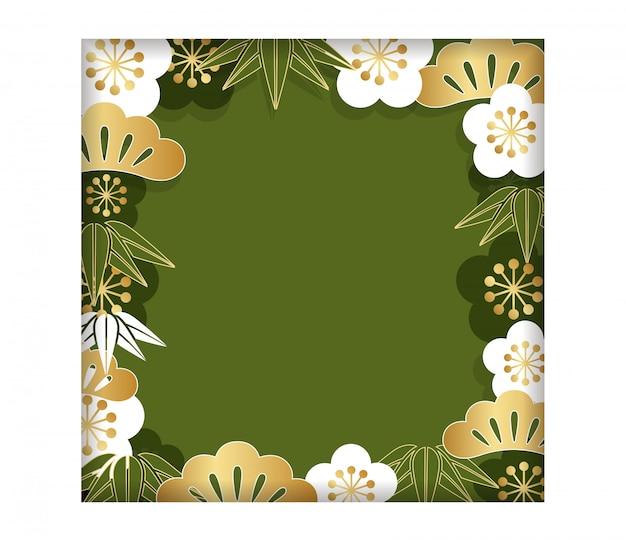 正方形のフレーム/背景、新年のカードのための伝統的な日本のパターン、ベクトルil