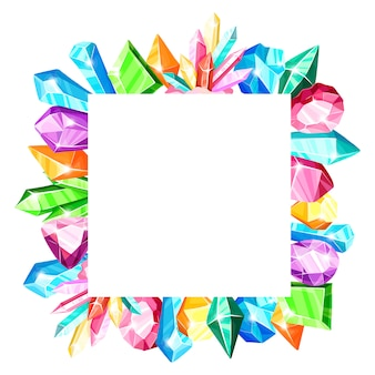 Square frame: colorful rainbow crystals or blue, golden, green, pink, violet gems, isolated on white background