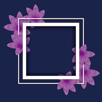 Square frame floral decoration