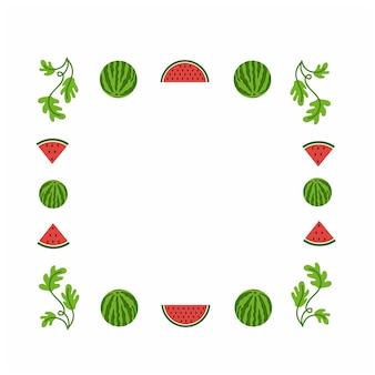 スイカスイカスライスと葉で写真を作るための正方形のフレームデザインフルーツ夏