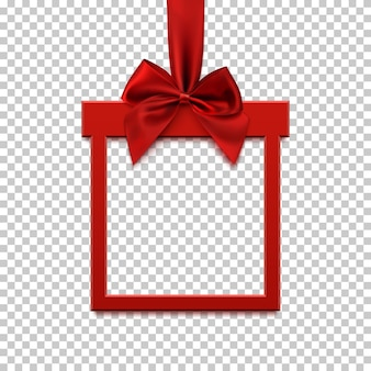 Square frame in form of gift with red ribbon and bow