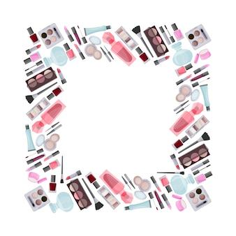 装飾化粧品で作られた正方形のフレーム。販売の広告。デザイン要素。ベクター。 Premiumベクター