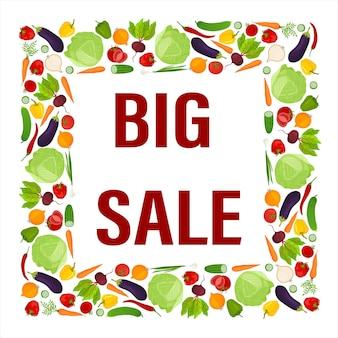 Квадратная рамка из свежих овощей. большое объявление о продаже. элемент дизайна. вектор.