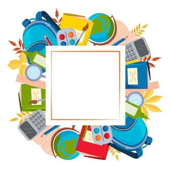 A square frame made of school supplies an empty space for the text postcard