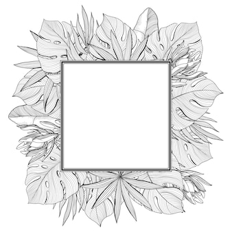 Square frame made of tropical, jungle palm leaves, hand-drawn vector illustration