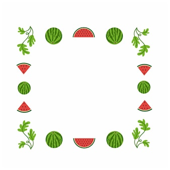 Square frame for making photos with watermelon watermelon slice and leaves design fruit summer