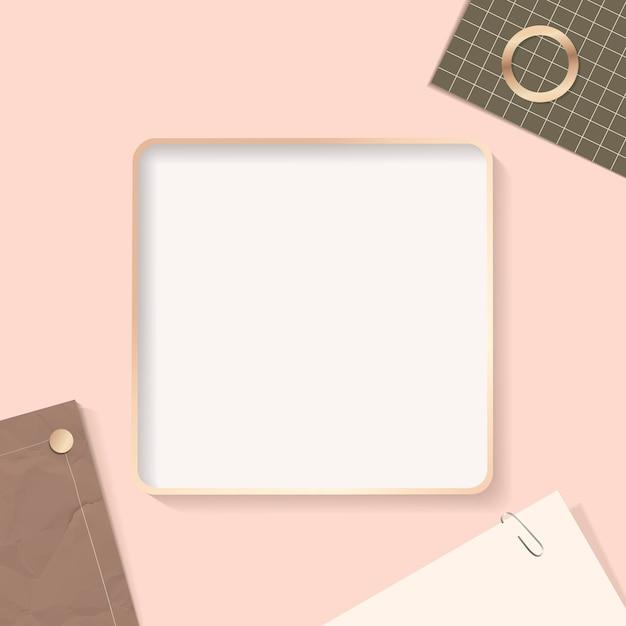 Square frame on a notepaper background