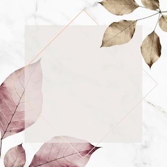 금속 잎 패턴 배경 벡터에 사각형 프레임