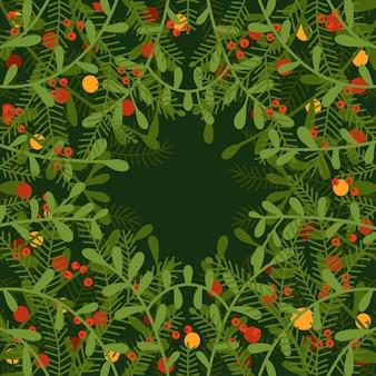 녹색 바탕에 침엽수 및 낙엽수 열매의 가지와 나뭇가지로 만든 사각형 프레임 또는 테두리...