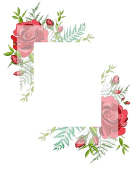 Square frame of red blossom rose flowers with square white transparent frame for text