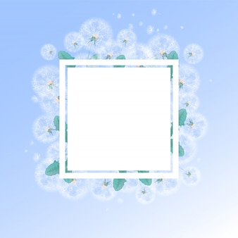 夏の白いタンポポと綿毛の背景を持つ正方形のフレーム。写真やテキストのテンプレートです。