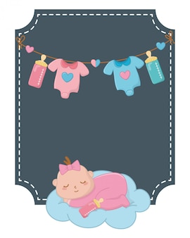 Square frame with baby sleeping illustration