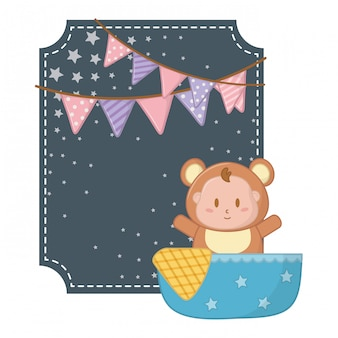 Square frame with bear costume illustration