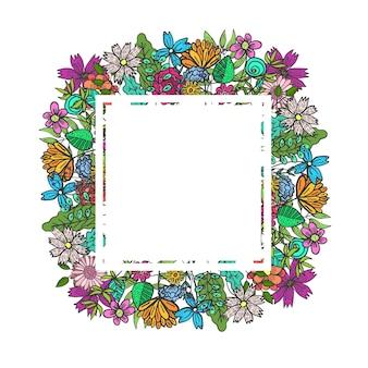 컬러 낙서 꽃과 잎이 있는 사각형 프레임